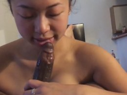 Asian hotness is sensual when she grabs a rocklike cock