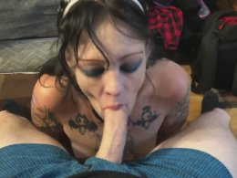 Slutty tattooed brunette likes sucking my giant cock at home