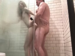 Me and my wife have a steamy shower sex session