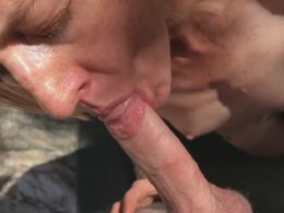 Outdoor sloppy blowjob and cum in the mouth of blonde wife