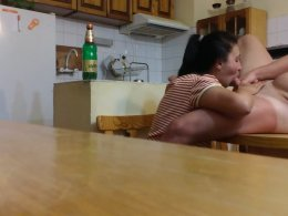 Neighbor's Bulgarian wife blows my cock and swallows cum in the kitchen