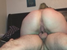 Big ass blonde cums multiple times while riding my big dick