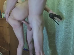 Young wife gives a sloppy blowjob and gets pounded in high heels