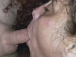 Sloppy close up deep blowjob with a slow motion oral cream pie