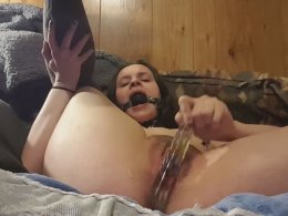 Making myself cum with a vibrator while wearing a ball gag