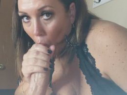 Woman with big tits sucking a cock POV