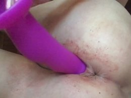 Ramming on a big pink dildo is the best party for this girl
