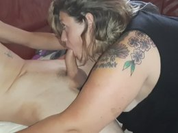 Big fat tattooed wife is good at cock blowing