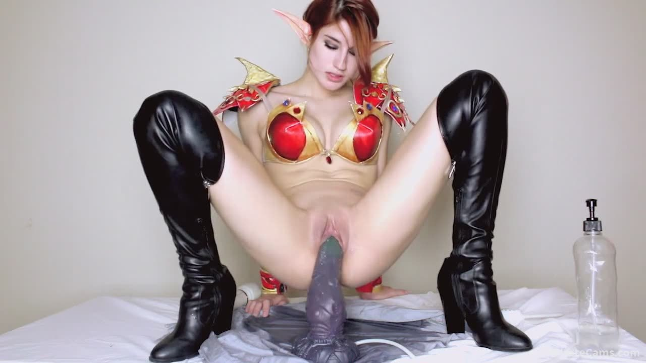 Sexy Elf Chick Fucking Herself With A Dragon Dildo