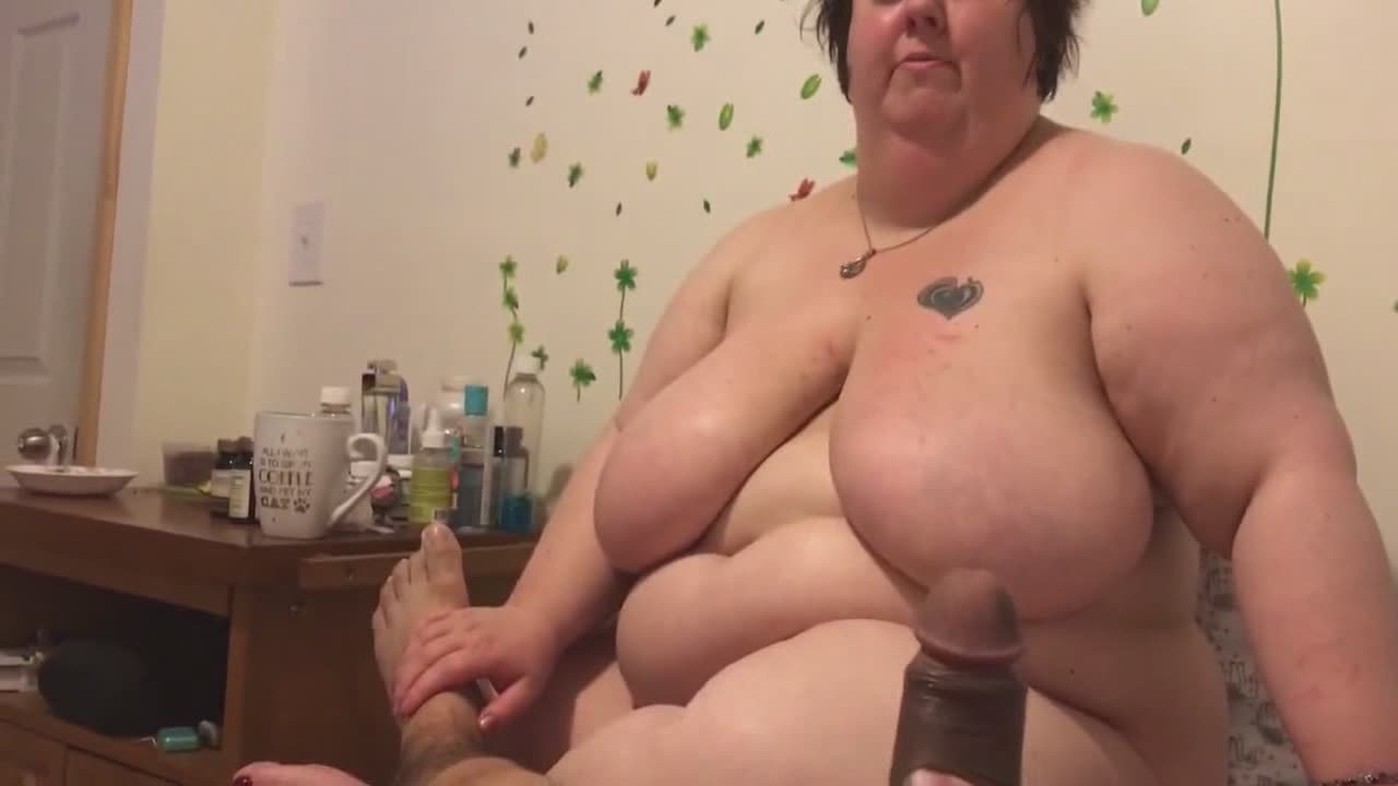 Gigantic wife trying to drain jizz from this cock