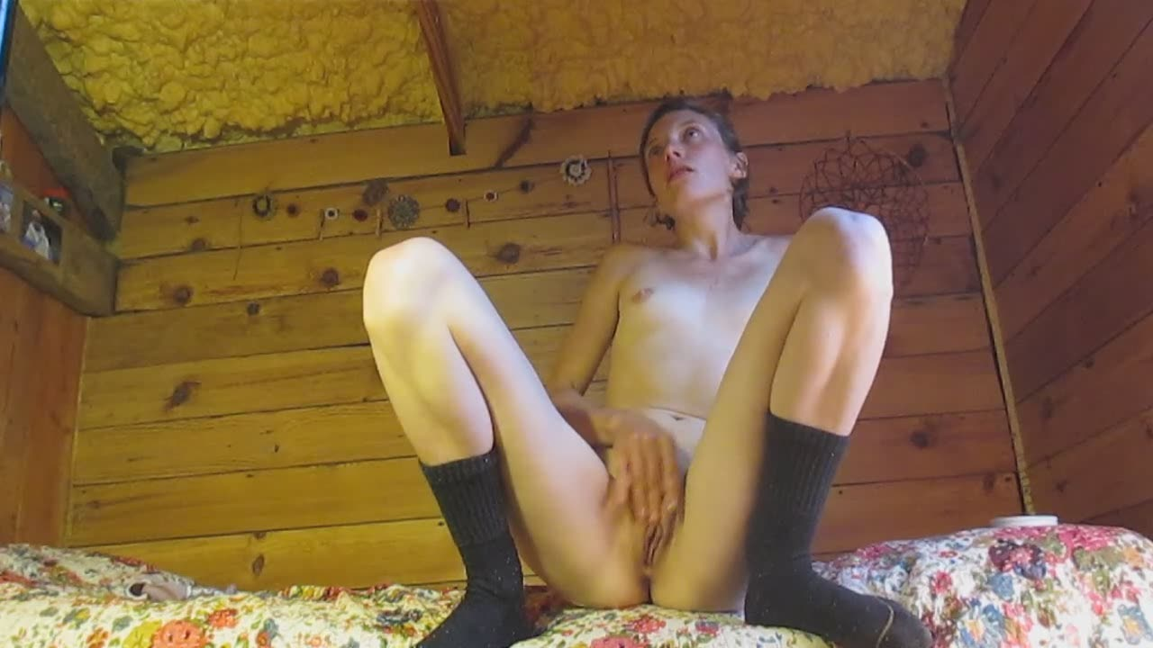 Skinny girl touching her pussy and masturbating