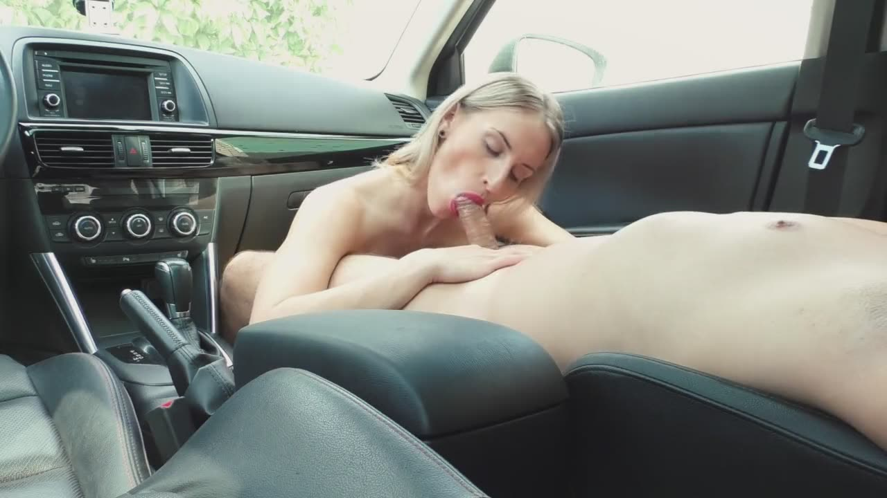 The blonde sucking a dick in the parking lot