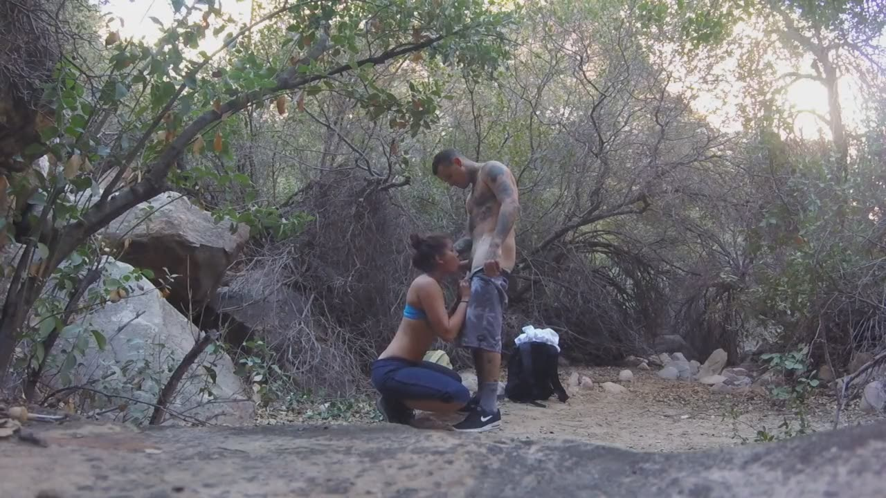 Amazing amateur couple in the woods having oral sex