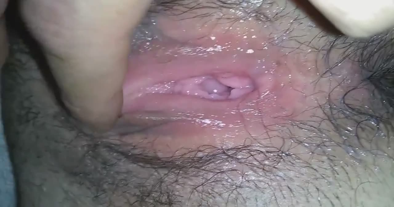 Me and my girl making a close-up of a dripping pussy